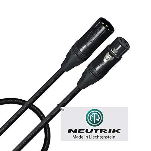 20 cm - Quad-symmetrisches Mikrofonkabel, maßgefertigt von Worlds Best Cables - mit Mogami 2534 Draht und Neutrik NC3MXX-B Male & NC3FXX-B Female XLR-Stecker