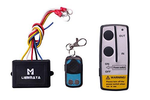 LIEBMAYA Wireless Elektrische Seilwinde Motorwinde Funkfernbedienung Controller Toröffner Fernsteuerung Set für Winde Kipper LKW Jeep ATV