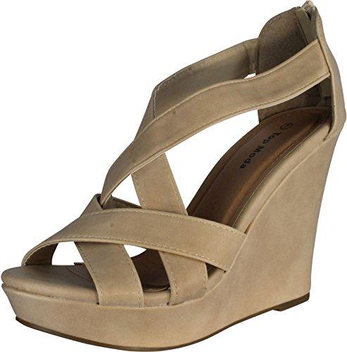 TOP Moda Ella-18 Women's Gladiator Wedge Heel Sandals,Beige,8.5