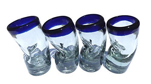 Mexican Hand Blow Shot Glass - Set of 4 - 2 Oz- 'Drunken Shot' - Cobalt Blue Rim - Bent 50 Ml Each Cinco de Mayo - Tequilero Borracho - Handmade Scotch Tequila - Christmas Groomsman Housewarming