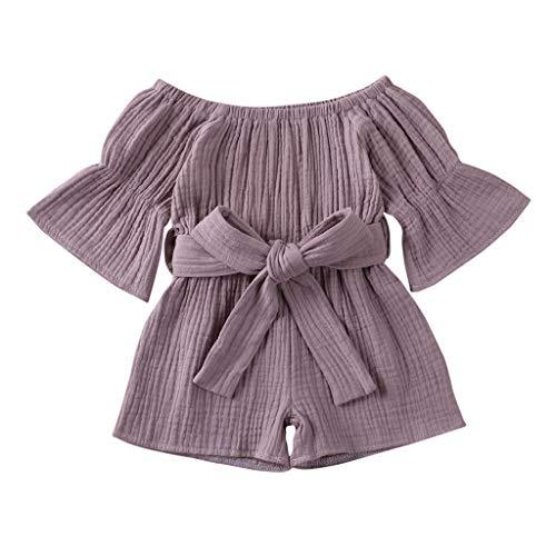 LEXUPE Kleinkind Baby Kinder Mädchen Jungen Off-Shoulder Rüschen Bogen Strampler Jumpsuit Outfits(Lila,100)