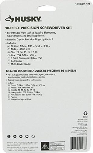 Husky 63518H Pocket-Sized Precision Screwdriver Set w/ Carrying Case (18 Pieces: 1 x Screwdriver Handle, 17 x Bits)