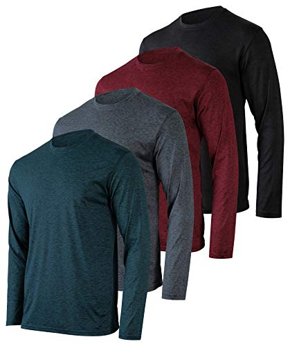 Mens Long Sleeve T-Shirt Workout Clothes Dri Quick Dry Fit Gym Crew Shirt Casual Athletic Active Wear Essentials Clothing Undershirt Top UPF - 4 Pack -Set 2,XL