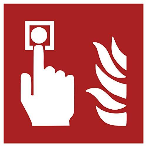 F005 Brandschutzaufkleber | Nachleuchtend nach DIN 67510 in grün | Selbstklebend Folie für Betriebe, Produktion & Kliniken | 150 x 150 mm | PlottFactory