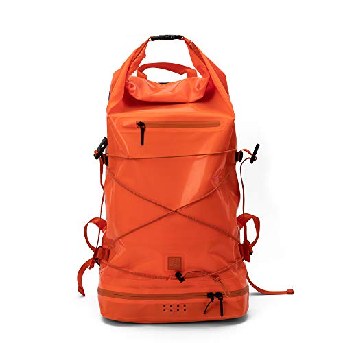 IAMRUNBOX Mochila Enrollable, Impermeable, Compartimiento Portátil, Uso Casual o para Viaje - 30L (Naranja)