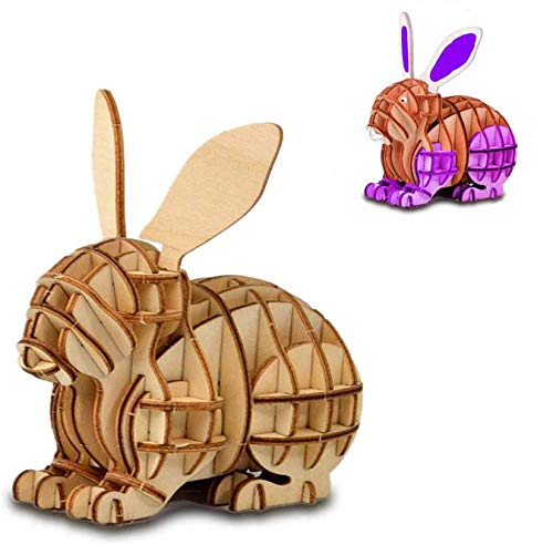 3D Wooden Puzzle Toys for Kids Wooden Animal Rabbit Model Puzzle, Mechanical Puzzles Jigsaw Puzzle Toys Model Kits Assemble Puzzle Educational Toys Gifts for Kids Boys Girls