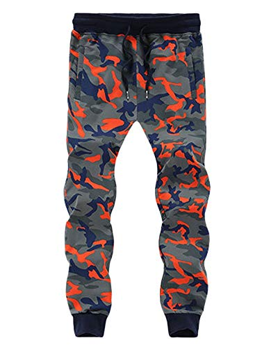 Preisvergleich Produktbild Lannister Herren Cargo Stil Tarnung Jogginganzug Training Bekleidung Festlich Größe Größe Sporthosen Kleine Füße Hosen Mode Kleidung Jogginghose (Color : Orange,  Size : 3XL)