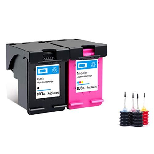 Cartucho de tinta 803XL, adecuado para HP Black HP2132 1112 2131 1111 2623 Impresora de inyección de tinta, Negro 600 Páginas, Tri-Color 450 Páginas, Tinta gratis de
