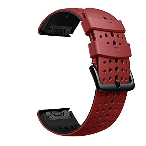 ANBEST Pulsera de Silicona Compatible con Garmin Fenix 5X/Fenix 6X Correa, 26mm Correa de Repuesto de Liberación Rápida para Fenix 6X Pro/Fenix 5X Plus/Fenix 3HR/Fenix 3, Rojo/Negro