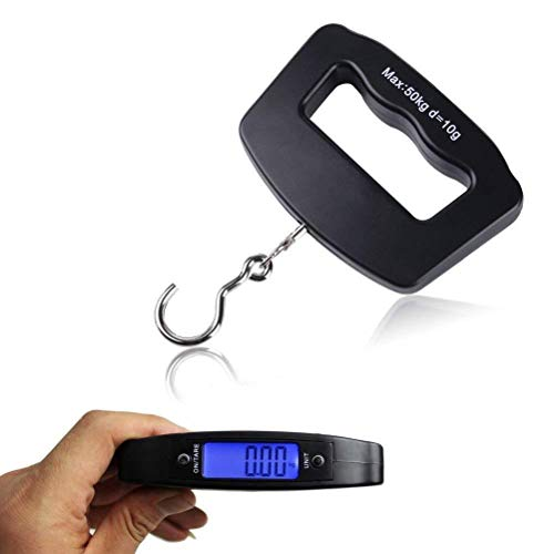 Odowalker Fishing Scale Luggage Weighing Scale Digital Electronic Balance Backlit LCD Display Scales with Hanging Hook,50 Killogram / 110 lb - Big Handle