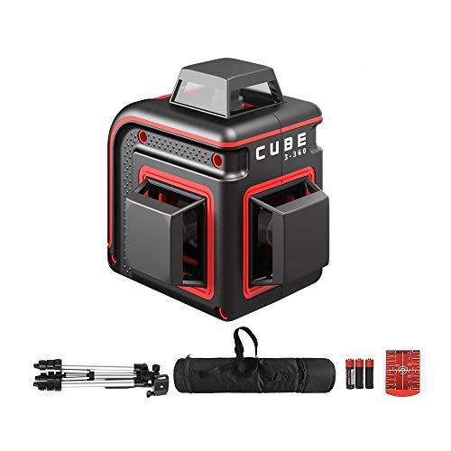 ADA linea laser Cube 3-360 (3 linee a proiezione a 360°, raggio d\'azione: 20m (70m con ricevitore), treppiede, 3x batterie AAA, borsa per il trasporto, IP54, ±0,3mm/m