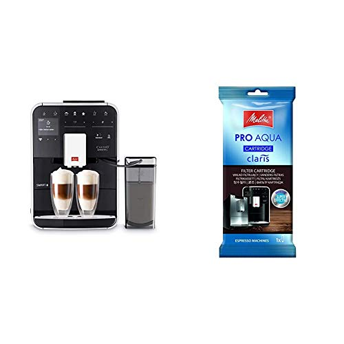 Melitta Caffeo Barista TS Smart F850-102, Kaffeevollautomat mit Milchbehälter, Schwarz & 192830 Filterpatrone für Kaffeevollautomaten | Pro Aqua | Vorbeugung von Verkalkung | 1 Patrone