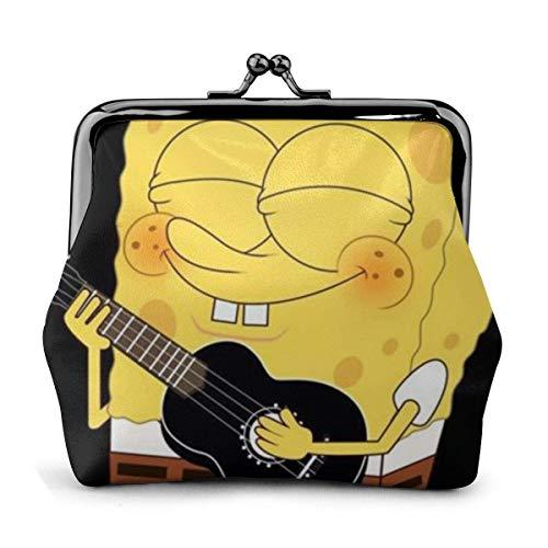 Klassische Geldbörse mit Schnalle, Spongebob-Gitarre Exquisite PU-Leder-Clutch-Brieftasche