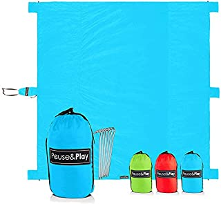 Pause&Play Oversized 10'x9' Outdoor Blanket – 40% Larger vs Other Mats, Water Resistant & Sand Proof Throw for Picnic, Camping, Beach, Festival – Accessories Included