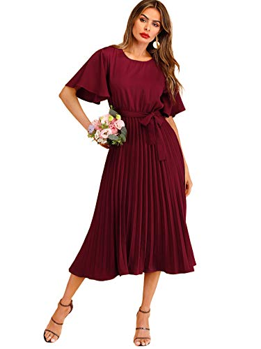 Milumia Women's Elegant Belted Pleated Flounce Sleeve Long Dress Burgundy S
