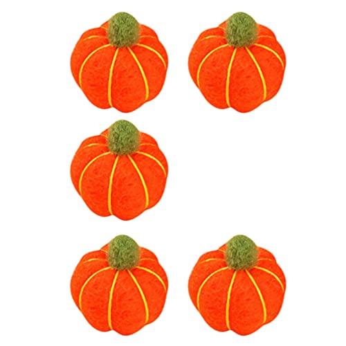 Happyyami Calabaza de Fieltro de Lana 5 Piezas Calabazas Artificiales DIY Garland Artesanías Escalonadas para Halloween Acción de Gracias Decoración de Otoño