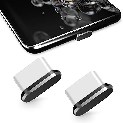 TITACUTE Tipo C Tapones antipolvo, paquete de 2, USB C Tapón antipolvo Tapón de puerto Galaxy S20 Tipo C Tapa antipolvo con caja de transporte Compatible con OnePlus 7T Pro Huawei P30 Pro negro