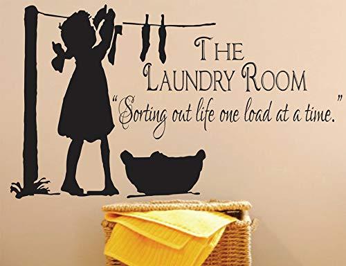 yiyiyaya Waschküche-Dekor, Wäscherei-Zeichen-Abziehbild-Anführungsstriche, die Leben eine Last auf einmal aussortieren Vinylwand-Aufkleber-Wand-Wandbilder wasserdichtes 94X57cm