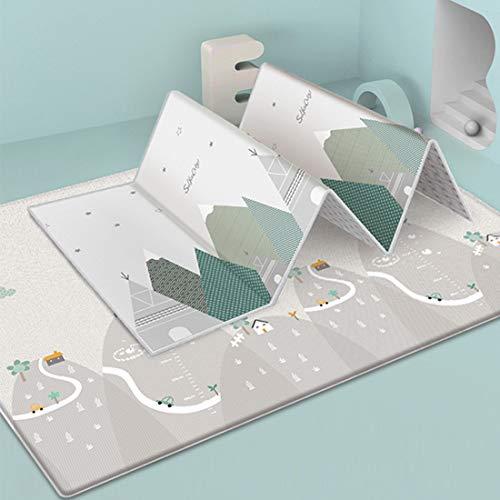 Tosbess Alfombra de juegos para bebé, Bebé Crawl Mat Niños Playmat plegable, antideslizante, reversible, impermeable, de doble cara, para niños pequeños y bebés, 200 x 180 x 1cm