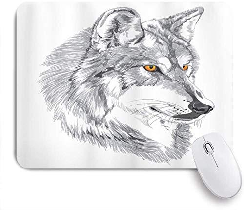 Gaming Mouse Pad rutschfeste Gummibasis, Tattoo handgemachte Skizze Porträt des sibirischen Wolfs Wildtier Legende Husky Artwork, für Computer Laptop Schreibtisch