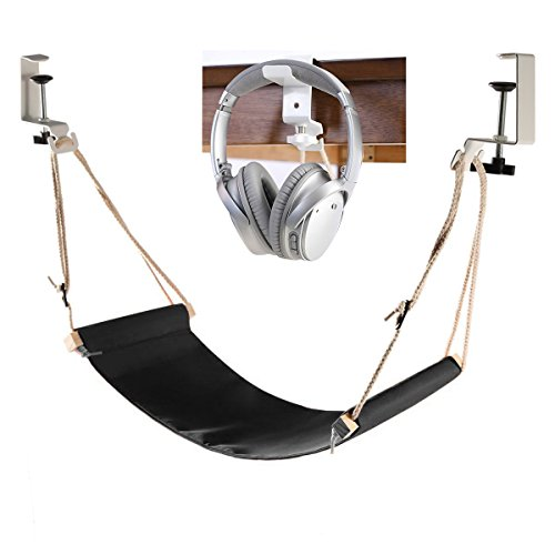 Desk Hammock with Headphone Holder, Auoinge Updated Foot Hammock Portable Durable Foot Rest with...