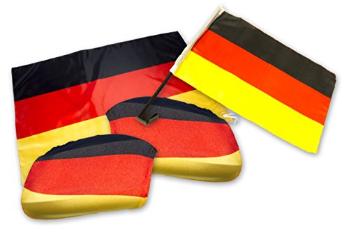 Duitsland autofan set - WM EM set 3-delig - auto raam vlag - auto spiegel vlag - Dtl. Vlag