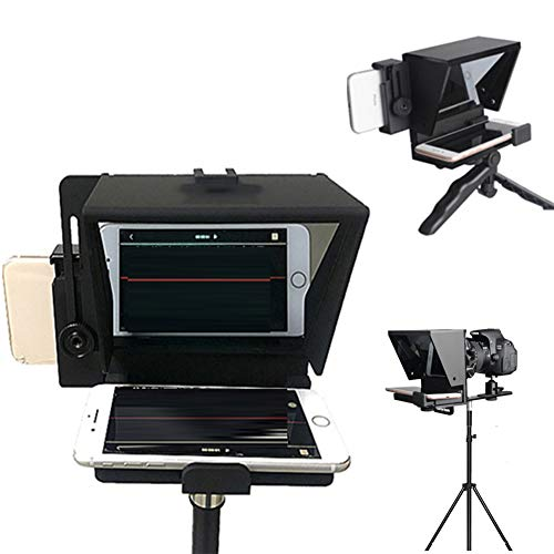 OHGGB Teleprompter Kit Portable Adjustable Ipad for iPhone Tablet Smartphone Beam Splitter Glass No Assembly Required
