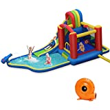 BOUNTECH Inflatable Bounce House, 9 in 1 Water Slide w/ Jumping Area, Climbing Wall, Water Cannon, Splash Pool, Tunnel, Including Hose Ocean Balls, Indoor Outdoor Play (with 740W Air Blower)