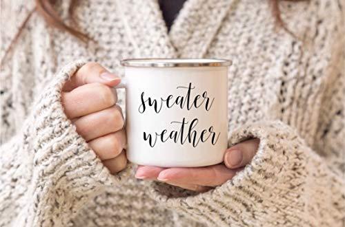 10 oz koffiemok, trui weer emaille mok koffiemok cadeau voor haar pompoen mok decor herfst mokken kamp camping Cup mok