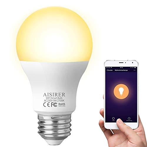 AISIRER Ampoule Connectee Ampoule LED WiFi Intelligente 9W 806LM Compatible avec Amazon Alexa Echo, Google Home Assistant E27 Dimmable Lumière chaude 2700K Aucun hub requis (4 Pack)