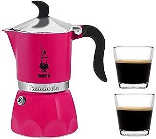 Bialetti Moka Express Stovetop Percolator (3 Cup, Fuchsia with 2 Cup)