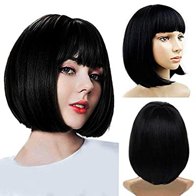 Short Bob Wigs with Bangs Cosplay Hair Wig for Women Shoulder Length Natural Bob Hair Colorful Costume Wigs