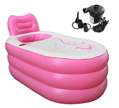 Back to 20s Fashion Adult SPA Inflatable Bath Tub with Electric Air Pump (Pink, Large)