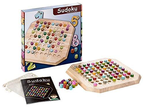 Piepmatz und Grünschnabel Sudoku aus Holz für Kinder - Brettspiel - Denk- und Strategiespiel - Förderung der Logik und Mathematik - mit bunten Steckern - ab 6 Jahre