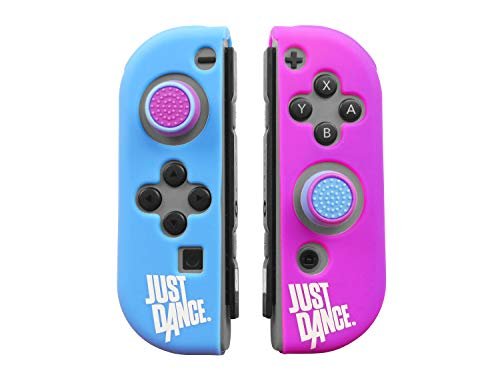 Just Dance 2019 - Custom Kit - Silicone Protective Cases for JoyCon, Non-Slip Soft Shell with Precision Thumb Grips Caps Accessories for Nintendo Switch Joy-Con Controller joysticks