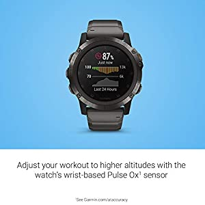 Garmin fēnix 5X Plus, Ultimate Multisport GPS Smartwatch, Features Color Topo Maps and Pulse Ox, Heart Rate Monitoring, Music and Pay, Gray W/Titanium Band