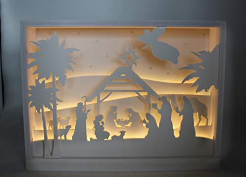 DARO DEKO 3D Krippe im Rahmen mit LED 40 x 30cm weiß