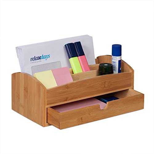 Relaxdays Schreibtisch Organizer, Bambus, mit Schublade & 3 Fächern, Büro Tischorganizer HBT: 11 x 27,5 x 15 cm, natur