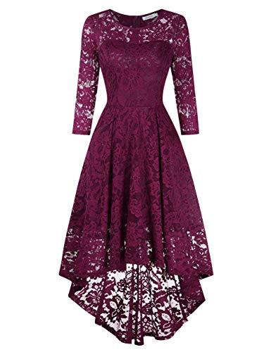 KOJOOIN Damen Abendkleider/Cocktailkleid/Brautjungfernkleider für Hochzeit Unregelmässiges Kurzespitzenkleid Ballkleidangarmila Grape,L