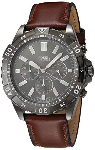 Fossil Relógio masculino Garrett de quartzo de aço inoxidável, Fumaça, marrom, One Size, Relógio cronógrafo Garrett - FS5770