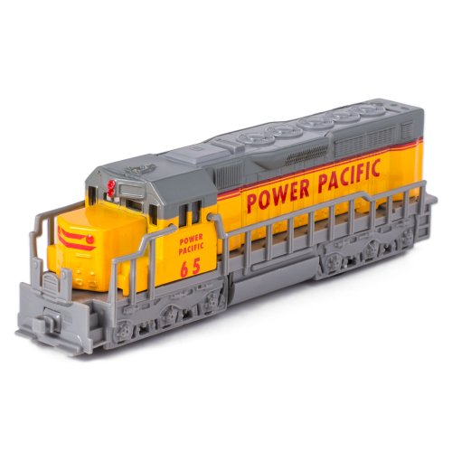 Kinsmart 7' Yellow Die Cast Freight Train Locomotive Toy with Pull Back Action