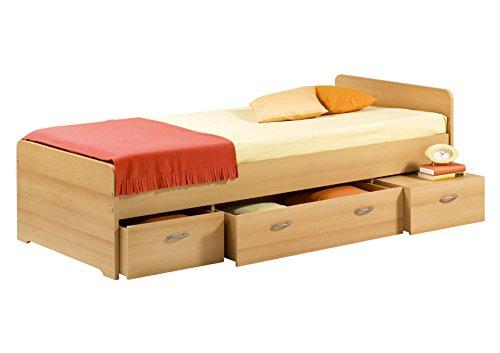 BORO Modernes Einzelbett mit 3x Schubkästen 90 x 200 cm - Praktisches Jugendzimmer Kojenbett in Buche Optik - 95 x 66 x 204 cm (B/H/T)