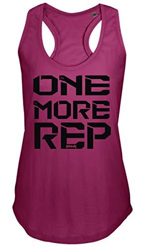 GO HEAVY Mujer Racer Camiseta Tirantes Deporte de Gimnasio Camiseta sin Mangas | Yoga Sport Top One More Rep Rosado XL