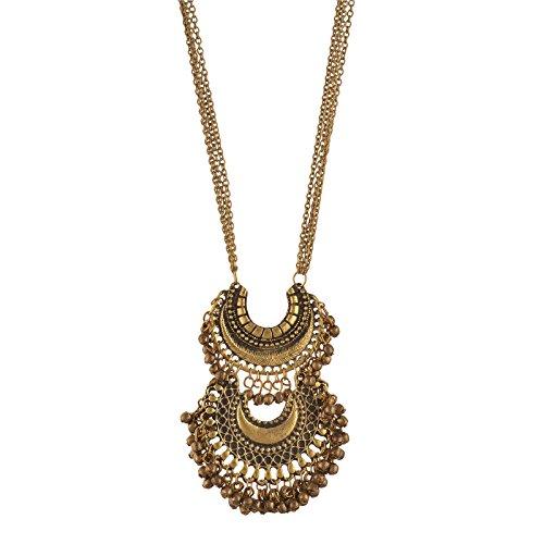 Zephyrr Fashion Turkish Style Beaded Pendant Long Statement Necklace for Women Boho Gypsy