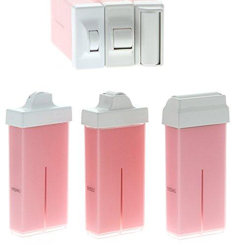 Rosa Warmwachs-patronen Rose Titanium m. 8, 15 und 45mm, Mini, Schmal und Breit Roll-On Aufsatz-Rollen, Kosmetex Premium, 3er Mix-Set