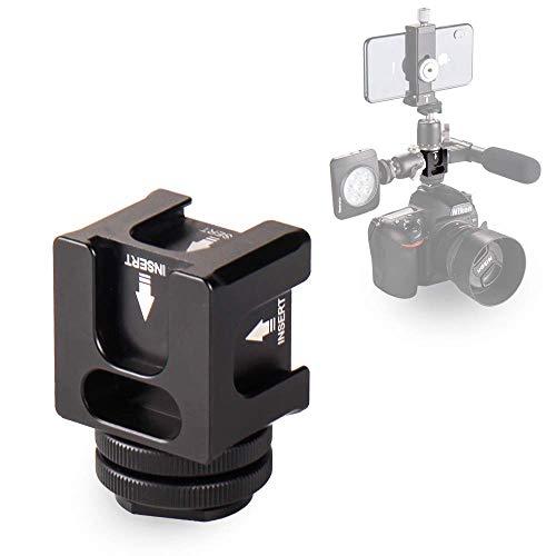 Koolehaoda Adaptador de Montaje de cámara para Zapata Caliente - Adaptador de Zapata fría de Aluminio cuádruple para Las Luces, Monitores led, Micrófonos (FR-04 Zapato Caliente)