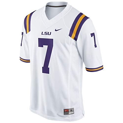 Men's Collage LSU Tigers Replica Game Football Jersey White #7 (White, XLarge)