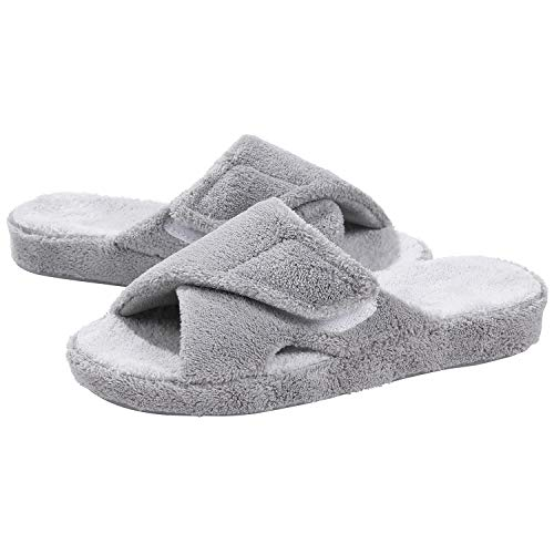 Adjustable House Slippers with Arch Support Open Toe Fuzzy Slide Sandals Grey 39