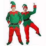 I LOVE FANCY DRESS LTD Disfraz DE Elfo para Adulto Unisexo con Gorra, Pantalones, Camisa, Cinturon, Y Zapatos Fiestas TEMATICAS DE Navidad (L)