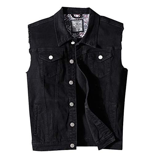 RongYue Men's Casual Button-Down Denim Vest Sleeveless Jacket with Broken Holes, Black, Large